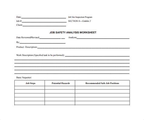 free jsa template pictures hazard analysis worksheet getadating