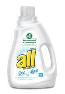 All free clear laundry detergent helps lighten our load lady and the