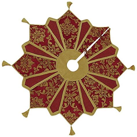 gold and burgundy 54 inch christmas tree skirt bed bath