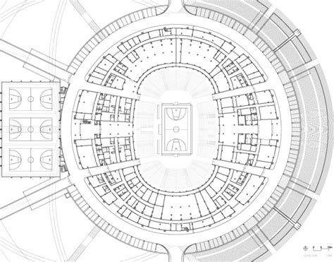 stadium floor plan gerkan marg and partners completes net like basketball