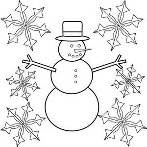 Snowflake and snowman coloring page is part of snowflake coloring