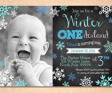 1 Birthday Card Template Winter Onederland by 30 Birthday Invitations Free Psd Vector Eps Ai