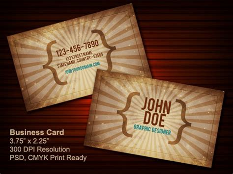 vintage business card template psd 100 free psd business card templates