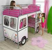 White Modern Bus Shaped Girls Bed Design For Little With Pink