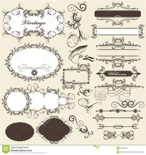 calligraphic design elements and page decoration vector set calligraphic design elements and page decorations set