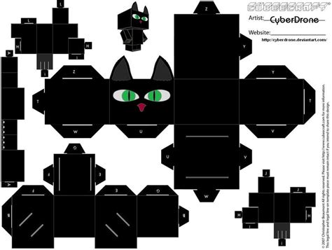 Papercraft Black And White - cubee black cat by cyberdrone on deviantart