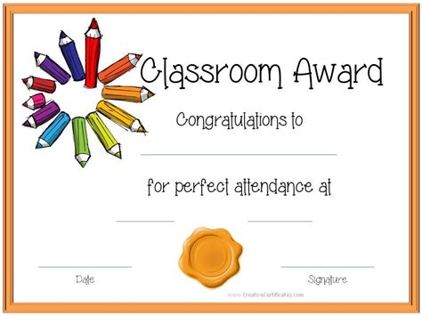 attendance certificates for your star students star students