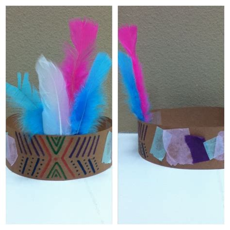 Crafts With Paper And Markers - indian headdress craft using construction paper markers