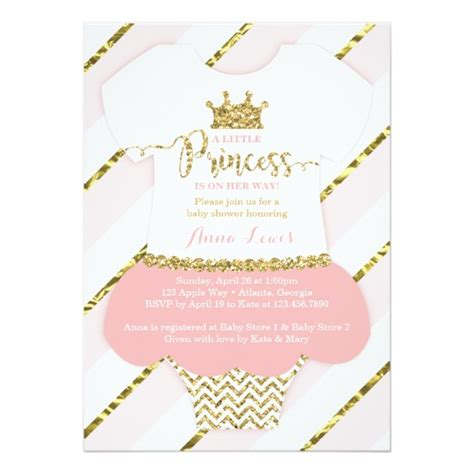 Baby Shower Invite by Princess Baby Shower Invite Faux Glitter Card