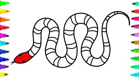 how to draw and color a snake for learn colors for