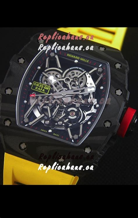 Richard Mille Rm035 Rafael Nadal Canvas Swiss Clone 11 richard mille rm035 2 rafael nadal forged carbon with yellow rubber