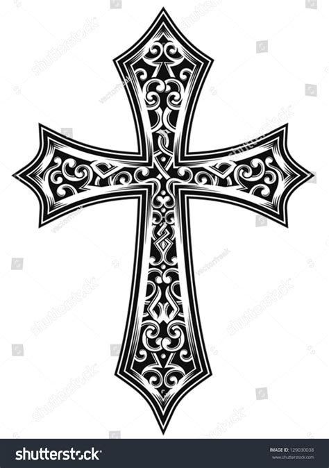 ornate christian cross vector stock vector