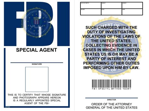 fbi id template easy solutions fbi id card