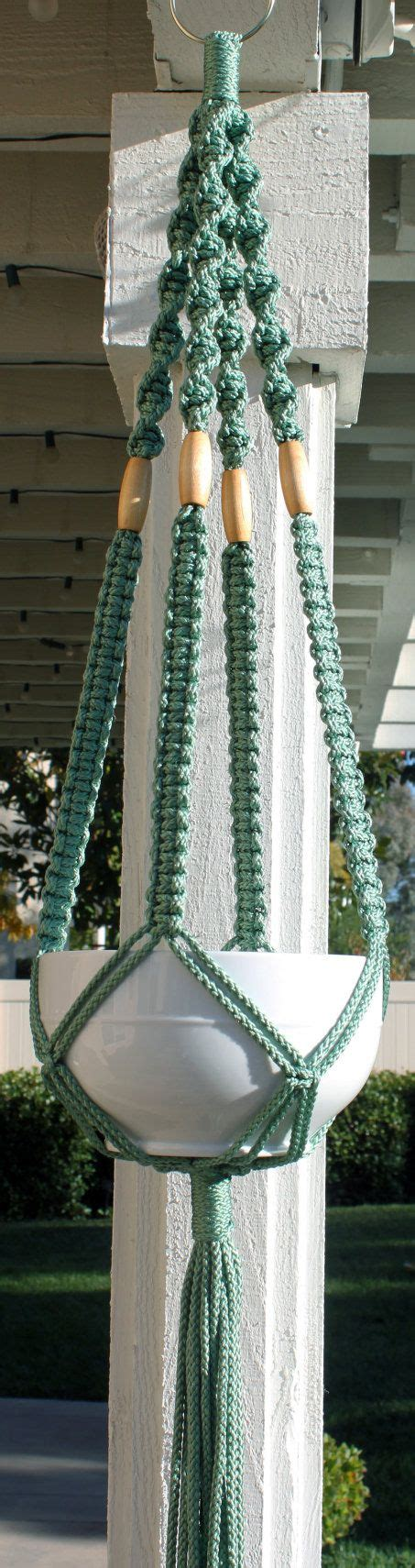 Handmade Macrame Plant Hangers - handmade blue green teal macrame plant hanger holder with