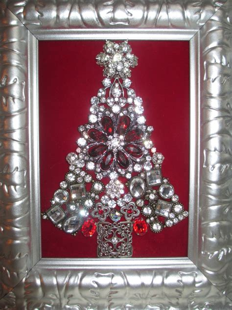 jeweled framed jewelry christmas tree silver vintage