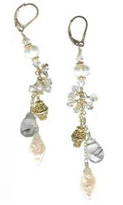 dangle earrings rutilated quartz pearl goldfilled chain dangle earrings meredithbead jewelry on artfire