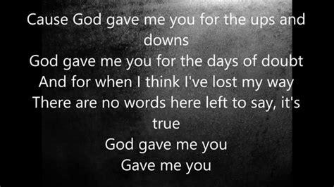 shelton god gave me you lyrics