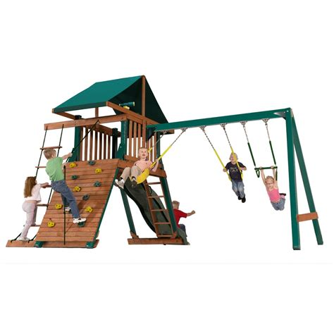 lowes swing sets installed shop heartland captain s loft expandable residential wood
