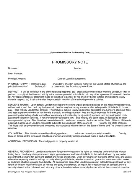 Promissory Note In Word And Pdf Formats Line Of Credit Promissory Note Template
