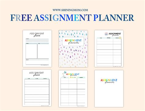 printable school assignment planner free assignment planner for kids and teens fun and cute