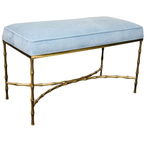 light bench mid century bronze faux bamboo bench with light blue