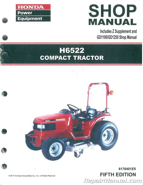 honda mower manual honda h6522 compact tractor shop manual