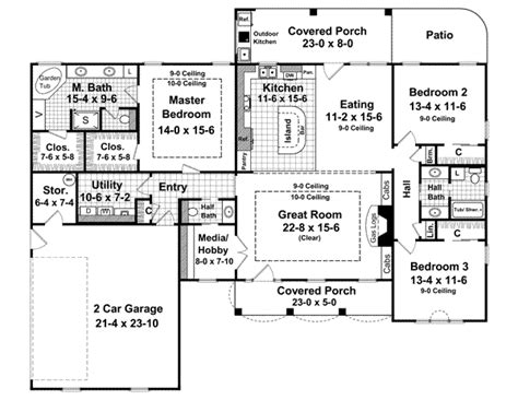 2000 square foot 2 story house plans country style house plans 2000 square foot home 1 story 3 bedroom and 2 bath 2