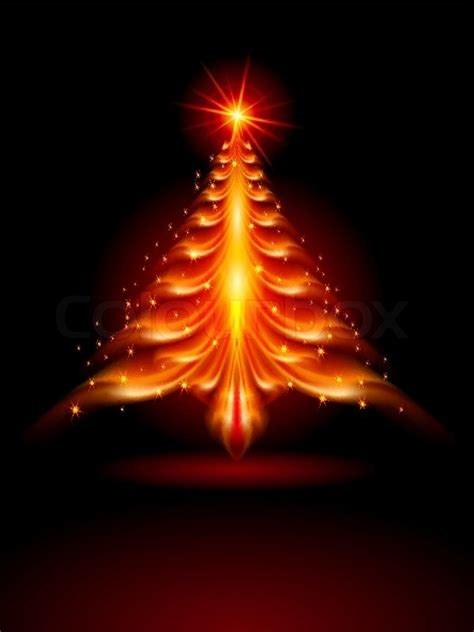 abstract fire christmas tree illustration  black background stock vector colourbox