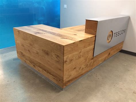 Rustic Reception Desk Rustic Oak Reception Desk With Aluminum Signage Bay Area Custom Furniture