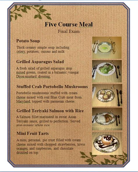 5 course dinner menu five course meal menu by airixaram on deviantart