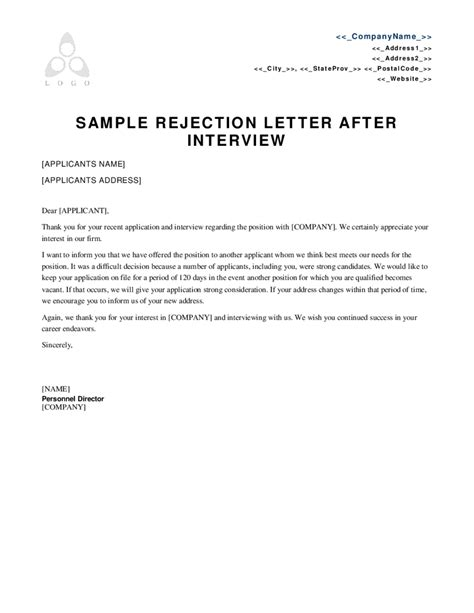 Rejection Letter Of Employment Template sle rejection letter after cover letter exle