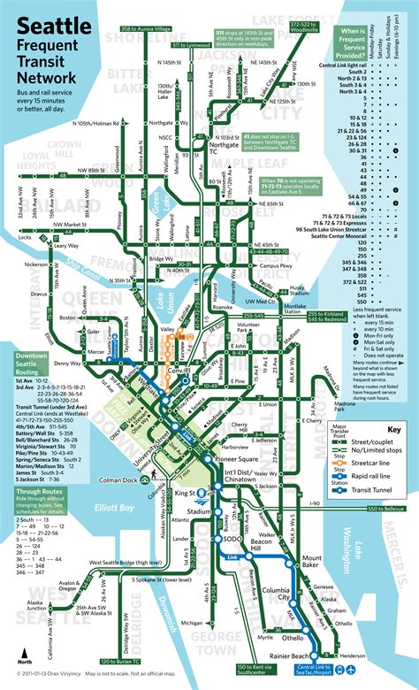 seattle light rail route seattle frequent transit map