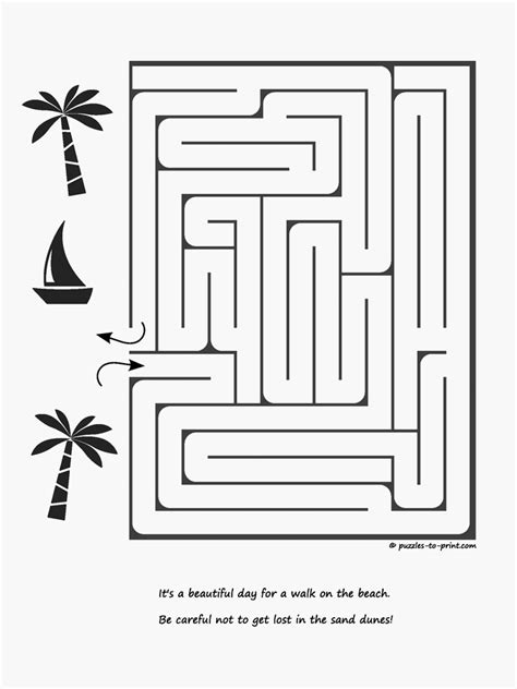 printable beach maze lost on the beach maze