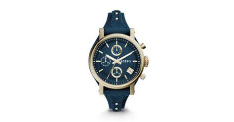 Fossil Es3927 original boyfriend chronograph midnight blue leather fossil