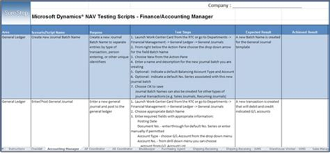 microsoft excel test script template bernac