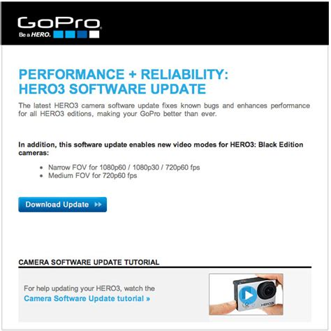 Gopro Update gopro hero3 software update performance reliability