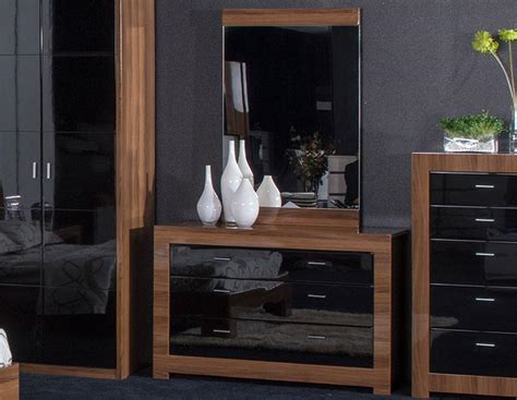 Bedroom Furniture Black Gloss And Walnut Home Decor Black Walnut Bedroom Furniture