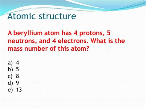 Number Of Protons In Beryllium by Atomic Structure Ppt