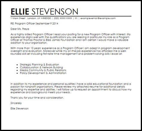 Cover Letter For Application Safety Officer Program Officer Cover Letter Sle Livecareer