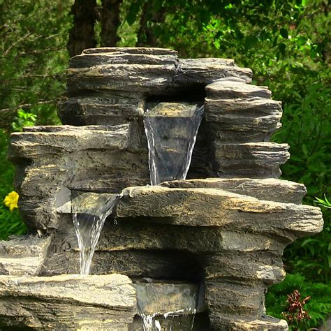 backyard fountains and waterfalls outdoor rock waterfall fountain 39 inches tall with led lights by sunnydaze decor