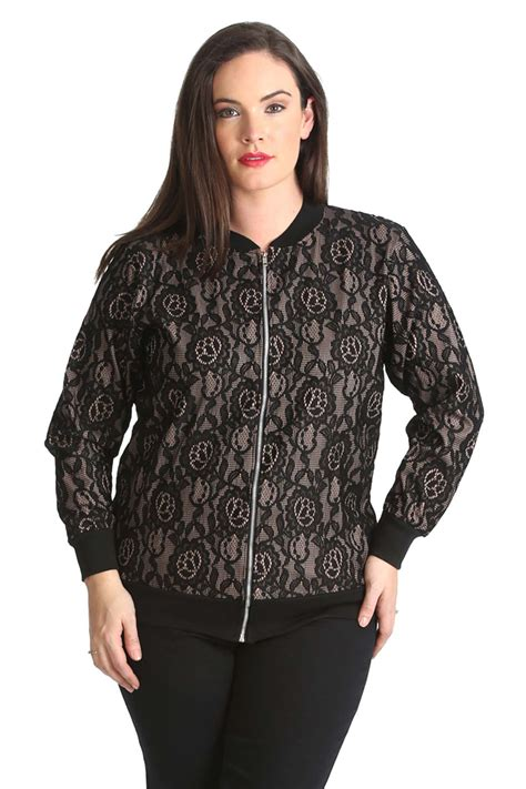 Bomber Jacket Floral Bigsize new bomber jacket womens floral lace ribbed style
