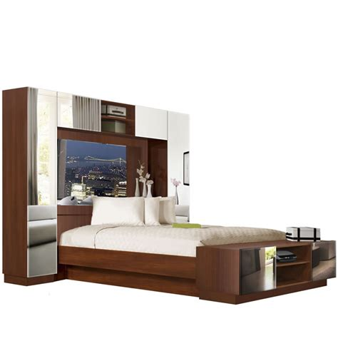 King Size Mirror Headboard by Chilton Pier Wall Bed With Mirrored Headboard Contempo Space
