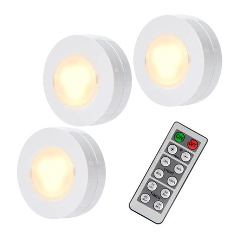 3 pack led puck cabinet closet lights remote