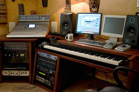home studio with custom built desk