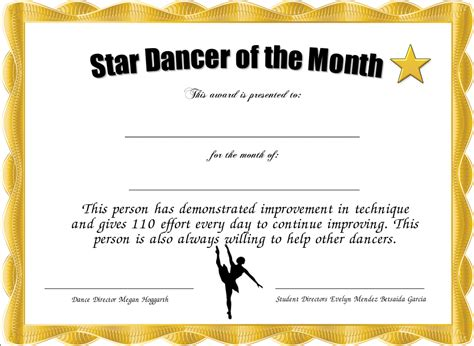 star dancer of the month certificate created with