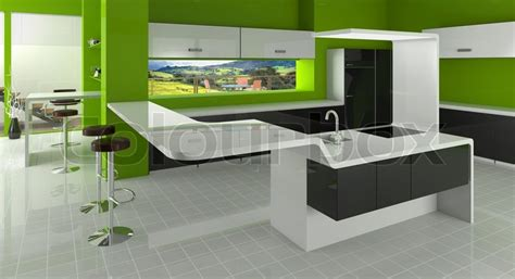 modern kitchen in green color inspirations amusing white modern kitchen in green black and white colors stock