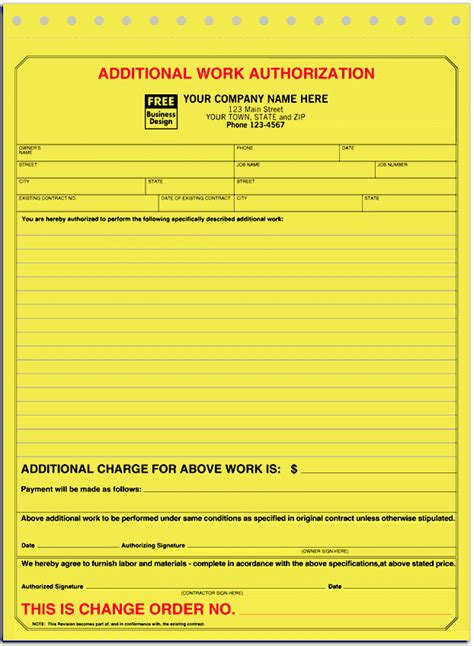 additional work authorization template ans business forms systems 120 manual form