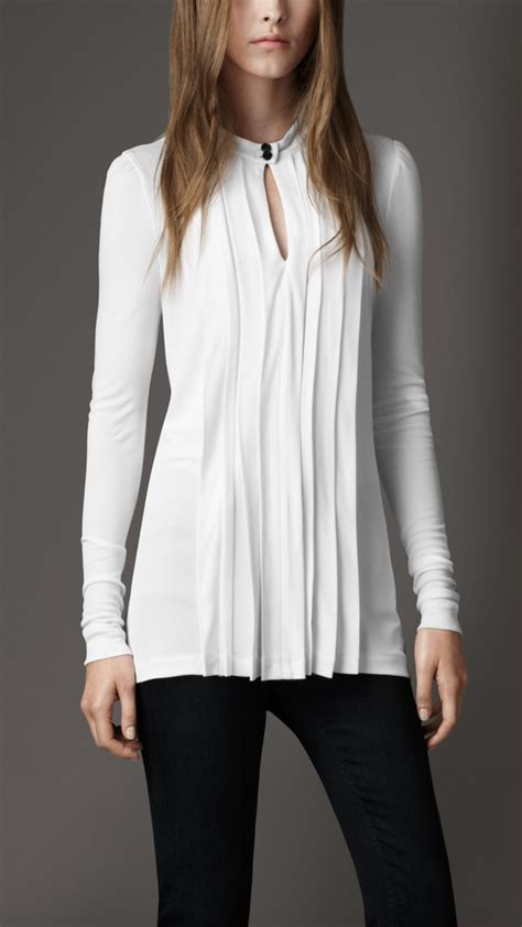 Gap White Pleated Blouse lyst burberry pleated keyhole blouse in white