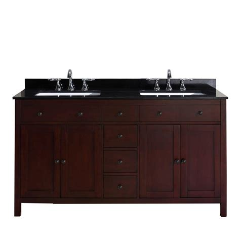 Black Bathroom Vanities With Tops Pegasus Austen 60 In Vanity In Cherry With Granite Vanity Top In Black Peausten60 The