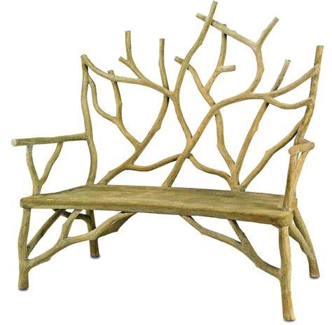 faux concrete bench faux bois concrete high back twig bench at 1stdibs